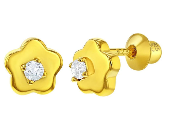 Sterling Silver Gold Flashed Clear CZ Flower Earrings