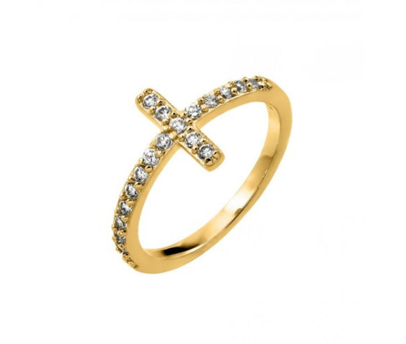 Sterling Silver Clear Inlay Clear CZ Cross Ring