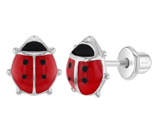 Sterling Silver Girls Enamel Ladybug Earrings with Safety Screw Back