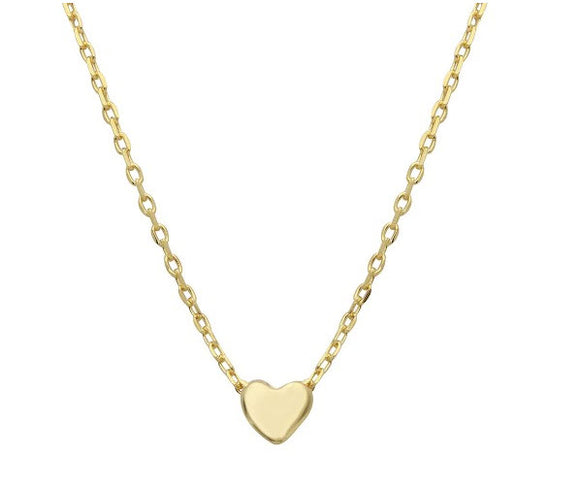 Sterling Silver Gold Plated Small Heart Necklace, 16