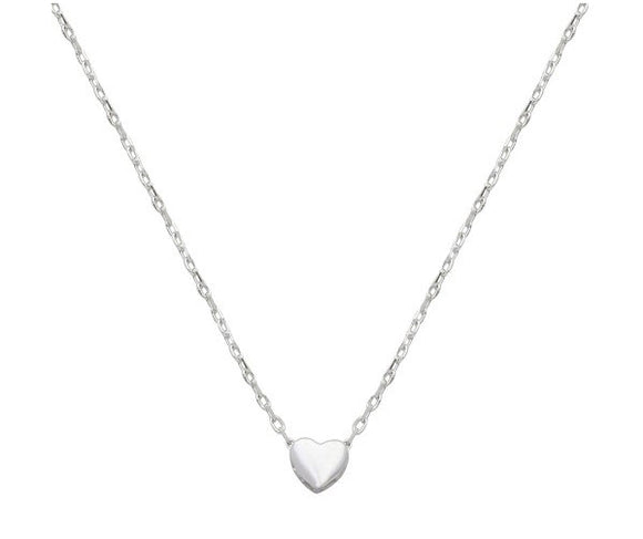 Sterling Silver Rhodium Plated Small Heart Necklace, 16