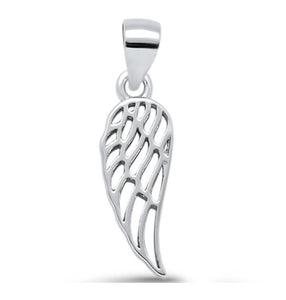 Rhodium Plated Angel Wing Sterling Silver Pendant