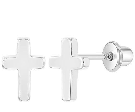Rhodium Plated Plain Little Cross Safety Screw Back Earrings Baby Children Kids