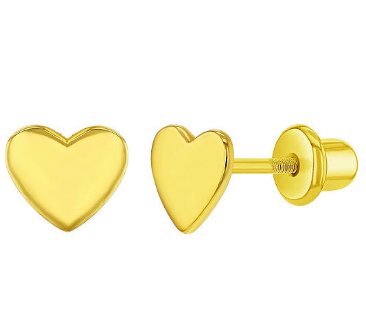 Sterling Silver Gold Plain Small Heart Screw Back Earrings