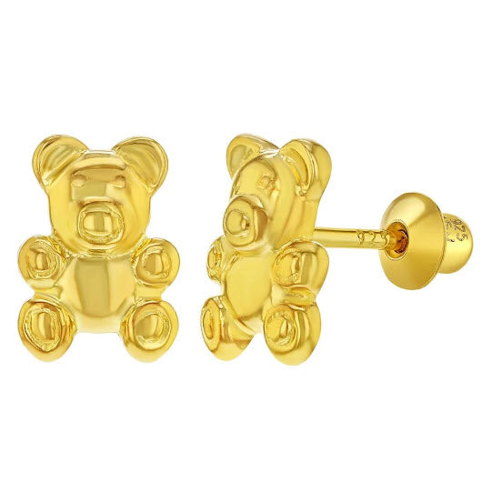 Sterling Silver Gold Plated Kids Children's Teddy Bear Earrings Screw Back