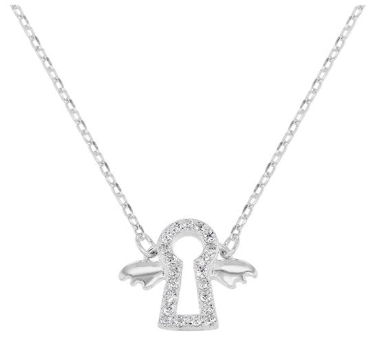 Sterling Silver Clear CZ Guardian Angel Necklace, 16