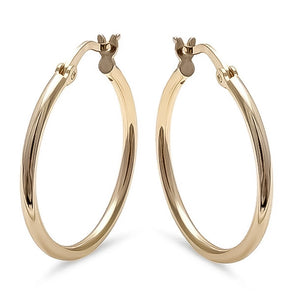 Gold Plated Sterling Silver Round Hoops, 1""