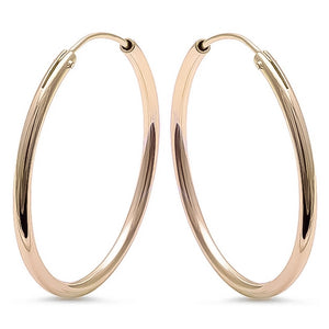 Gold Plated Sterling Silver Round Hoops, 1.25""