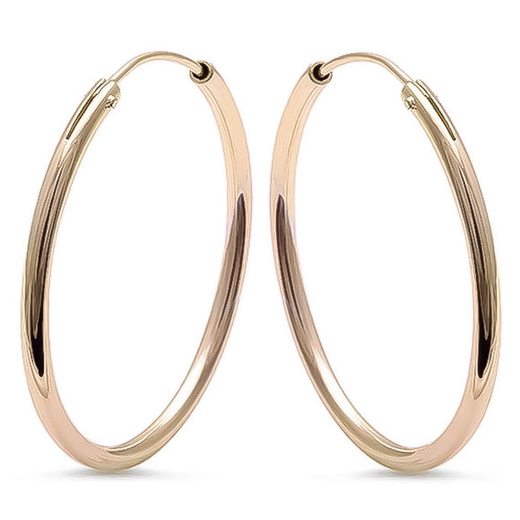 Gold Plated Sterling Silver Round Hoops, 1.25