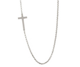 "Sterling Silver Rhodium Plated Cross Chain Necklace, 16"" + 2"""