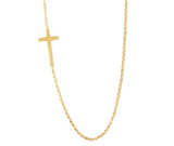 "Sterling Silver Gold Plated Cross Chain Necklace, 16"" + 2"""