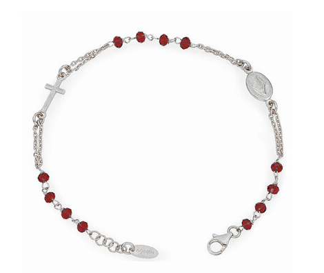 Sterling Silver Bracelet Rosary Red Crystal