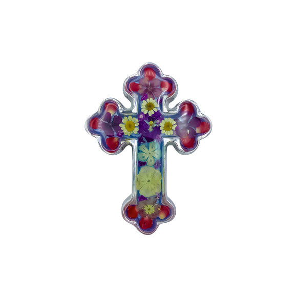 Pewter Baroque Cross with Real Flowers, 4.4