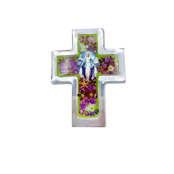 Our Lady of Grace Cross Wall Ornament with Natural Flowers, 2.4 x 3.5