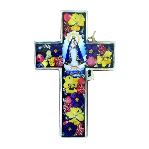 Our Lady of Charity Wall Cross with Natural Flowers, 4.2