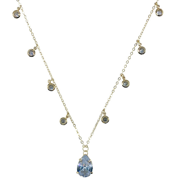 Gold Plated Clear CZ Beads Necklace, 17