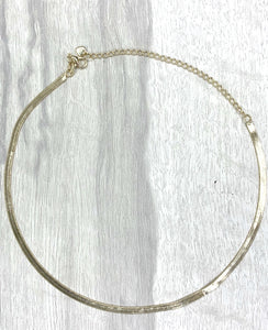 "Gold Plated 'Herringbone' Choker, 12"" 18"" & 20"""