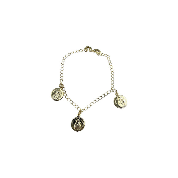 Gold Plated St Therese of Lisieux Medal Bracelet, 7