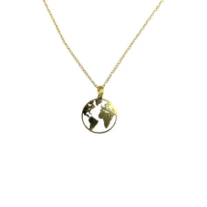 Sterling Silver Gold-Plated Globe Charm Necklace, 16""