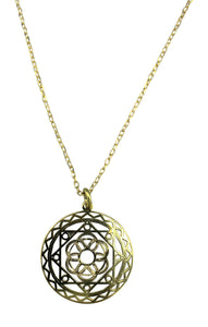 Sterling Silver 'Mandala' Medal Necklace, 16""