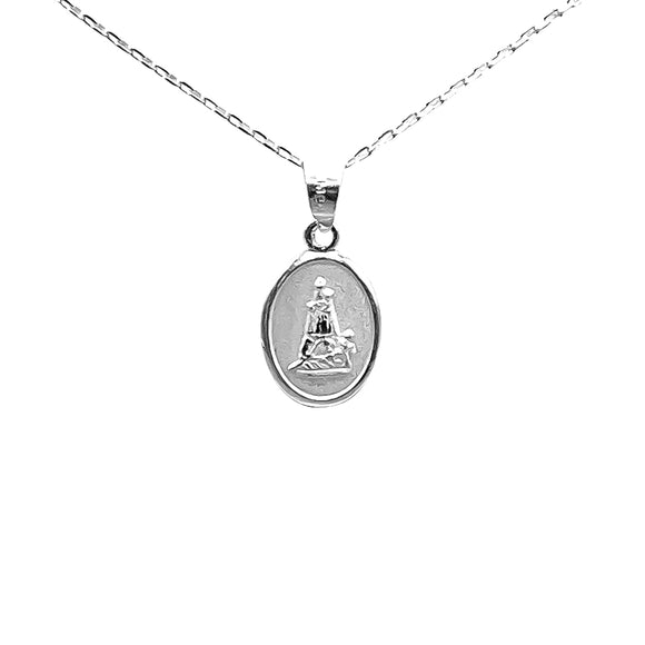 Sterling Silver Our Lady of Charity Small Medal Necklace, 16