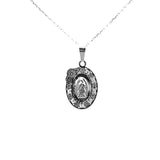 Sterling Silver Our Lady of Guadalupe Medal Necklace, 16""