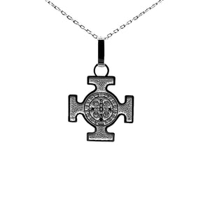 Sterling Silver St Benedict Cross Necklace, 16""