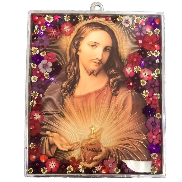 Sacred Heart of Jesus Wall Ornament w/ Natural Flowers, 9.4