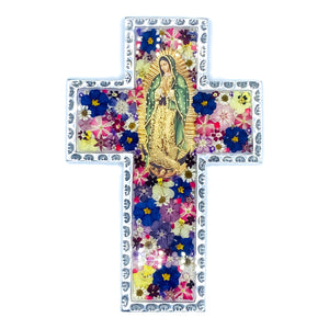 "Pewter Baroque Cross Guadalupe with Natural Flowers, 5.9"" x 8.2"" (L)"