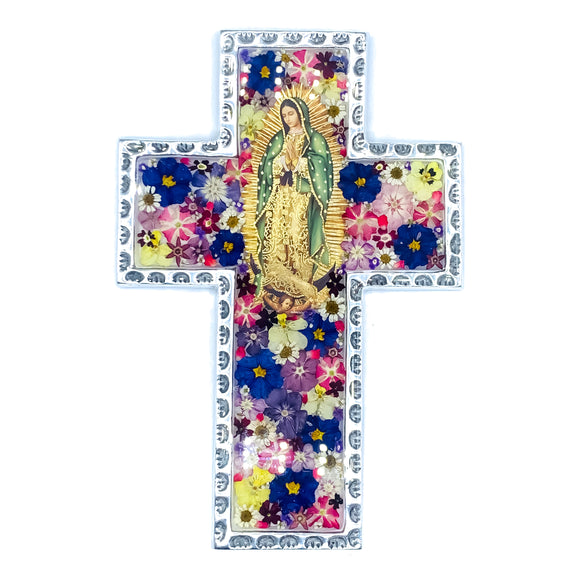 Pewter Baroque Cross Guadalupe with Natural Flowers, 5.9