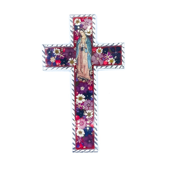 Pewter Medium Baroque Guadalupe Cross with Natural Flowers, 8.5