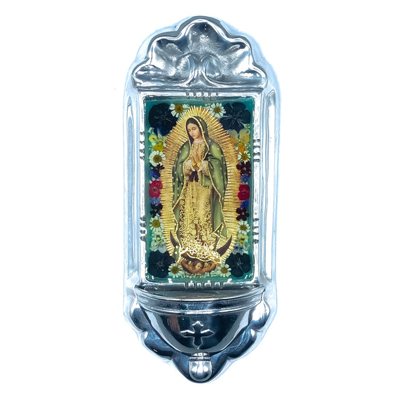 Pewter Guadalupe Niche with Real Flowers, 11