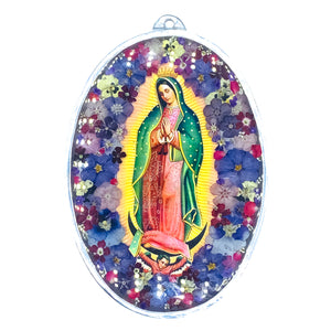 "Our Lady of Guadalupe Wall Ornament w/ Natural Flowers , 7.9"" X 5.5"" (M)"