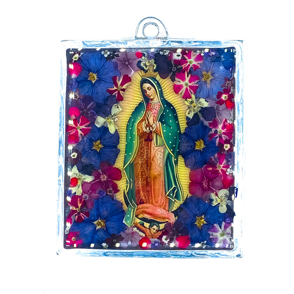 Our Lady of Guadalupe Wall Ornament w/ Natural Flowers, 4.7