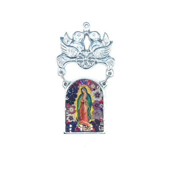 Dove-Shaped Pewter Guadalupe Small Ornament with Real Flowers, 3.1