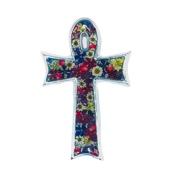 Pewter Egyptian Cross Wall Ornament with Natural Flowers, 4.3