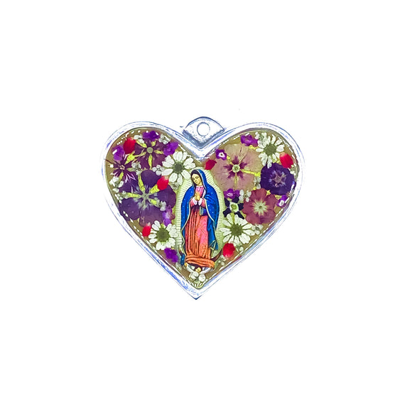 Heart-Shaped Pewter OL of Guadalupe Wall Ornament w/ Natural Flowers, 31