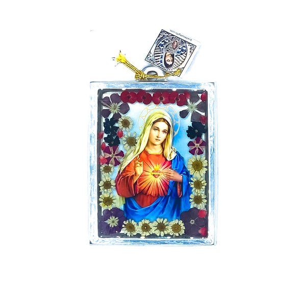 Immaculate Heart Wall Ornament w/ Natural Flowers, 4.5