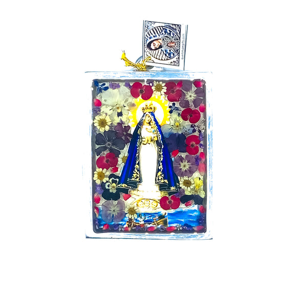 Our Lady of Charity Wall Ornament w/ Natural Flowers, 4.5