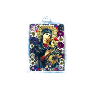 "Our Lady of Perpetual Help Wall Ornament w/ Natural Flowers, 4.5"" X 3.2"" (S)"