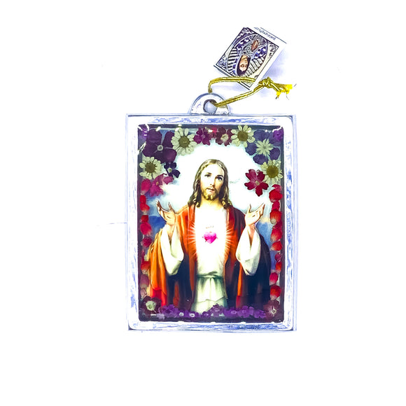 Jesus Wall Ornament w/ Natural Flowers, 4.5