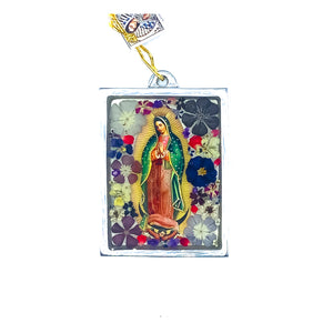 "Our Lady of Guadalupe Wall Ornament w/ Natural Flowers, 4.5"" X 3.2"""