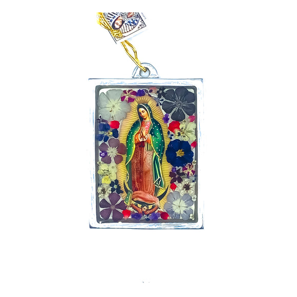 Our Lady of Guadalupe Wall Ornament w/ Natural Flowers, 4.5