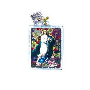 "Immaculate Conception Wall Ornament w/ Natural Flowers, 4.5"" X 3.2"" (S)"
