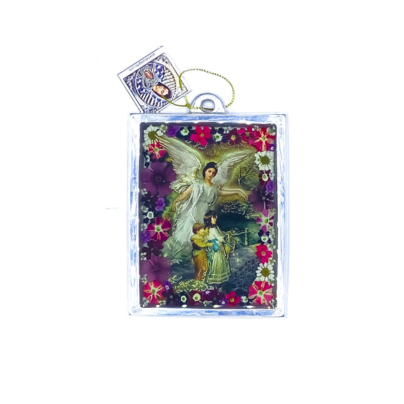 Guardian Angel Wall Frame w/ Pressed Flowers, 4.5