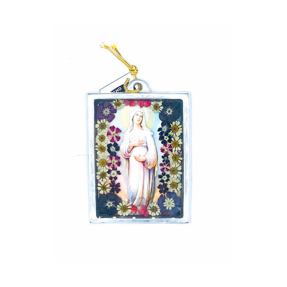 Our Lady of Hope Wall Ornament w/ Natural Flowers, 4.5