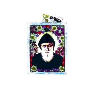 "Square-Shaped Pewter St Charbel Wall Ornament w/ Natural Flowers, 4.5"" X 3.2"" (S)"