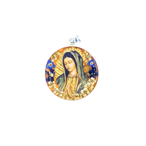 Silver Plated Our Lady of Guadalupe Necklace with Real Flowers, 16