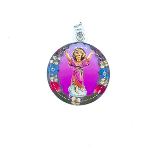 "Silver Plated Divine Child Jesus Necklace with Real Flowers, 16"" (L)"