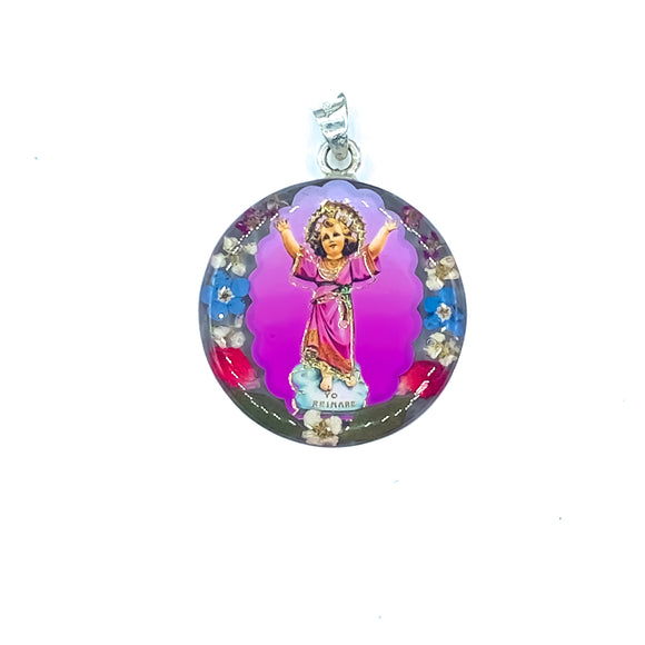 Silver Plated Divine Child Jesus Necklace with Real Flowers, 16